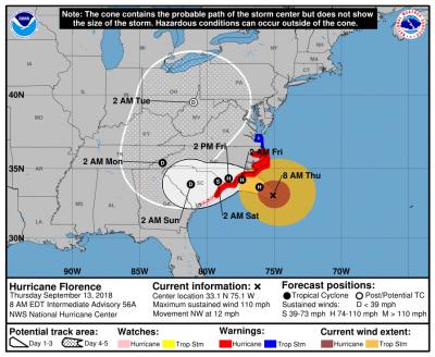 Hurricane Florence - Thursday 8 AM Update