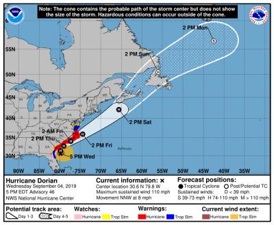 5 PM Hurricane Dorian Update